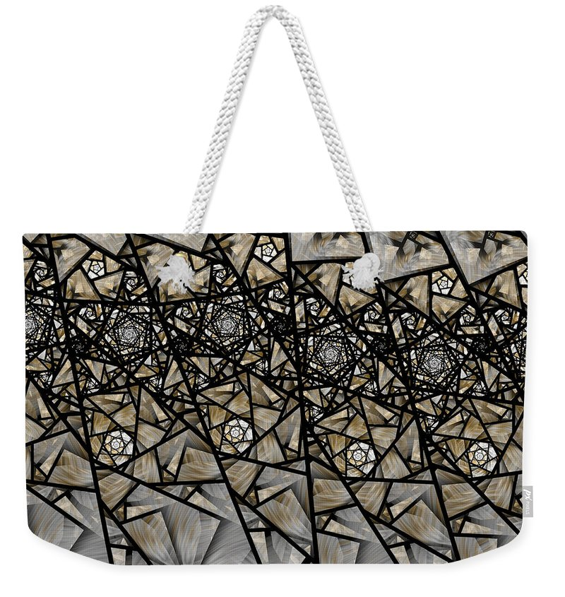 Fractal Weekender Tote Bag featuring the digital art Stained Glass Floral IIi by Amorina Ashton
