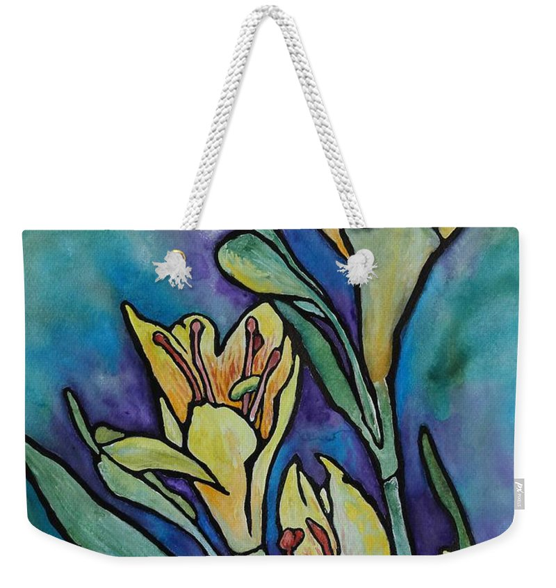 Flowers Weekender Tote Bag featuring the painting Stained Glass Flowers by Ruth Kamenev