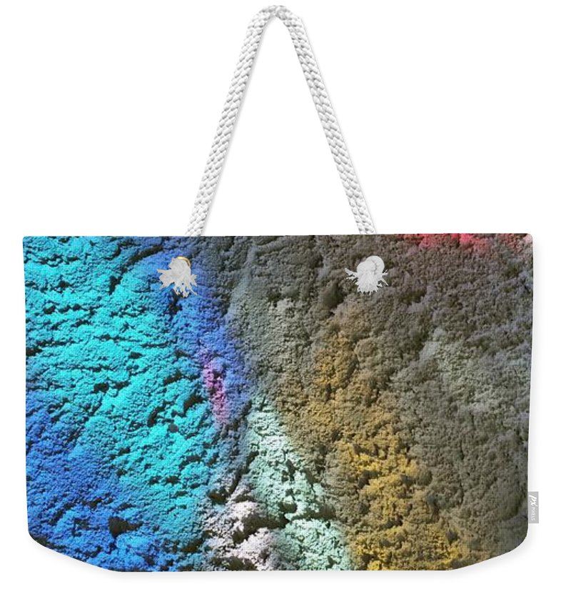 Weekender Tote Bag featuring the photograph Stained Glass Light On Stucco by Zac AlleyWalker Lowing