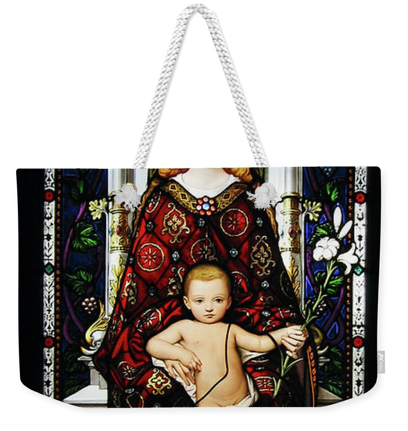 3scape Weekender Tote Bag featuring the photograph Stained Glass Of Virgin Mary by Adam Romanowicz