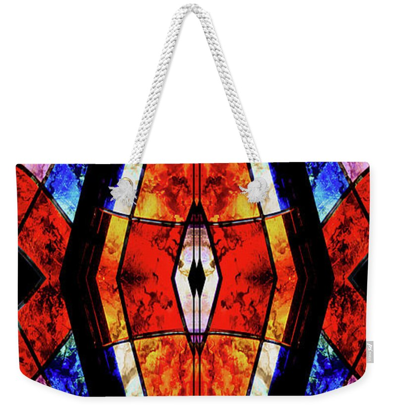 Stained Glass Weekender Tote Bag featuring the mixed media Stained Glass Panel by Jolanta Anna Karolska