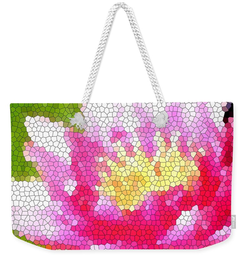 Abstract Art Weekender Tote Bag featuring the digital art Stained Glass Waterlily by Barbara Griffin