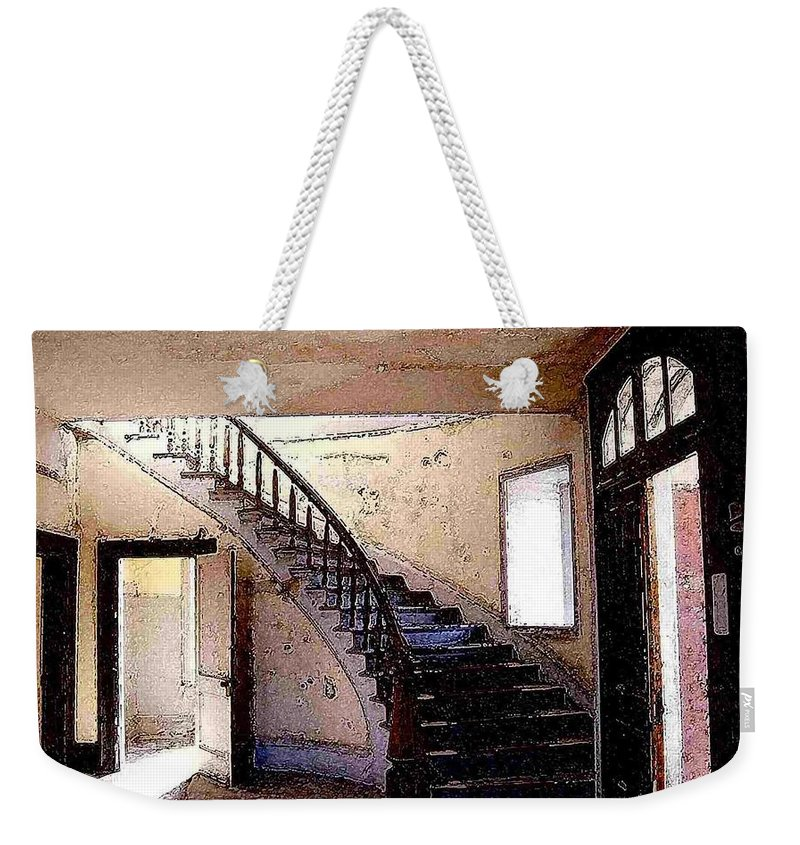 Meade Hotel Weekender Tote Bag featuring the photograph Stairway - Meade Hotel - Bannack Mt by Nelson Strong