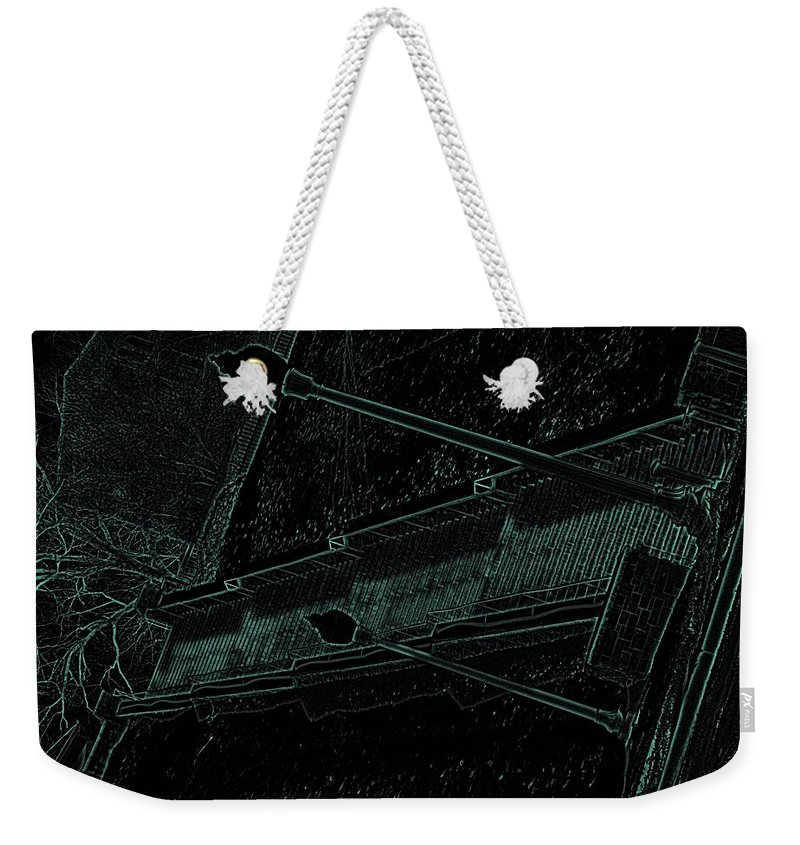 Black Weekender Tote Bag featuring the photograph Stairway To-blue by Charleen Treasures