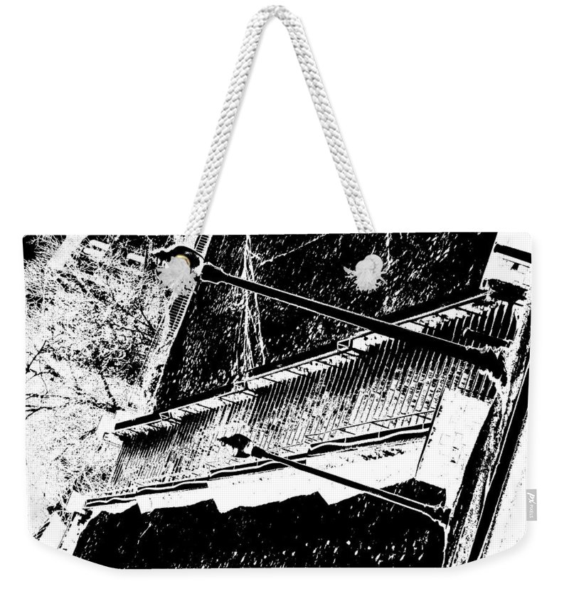 Black And White Weekender Tote Bag featuring the photograph Stairway To by Charleen Treasures