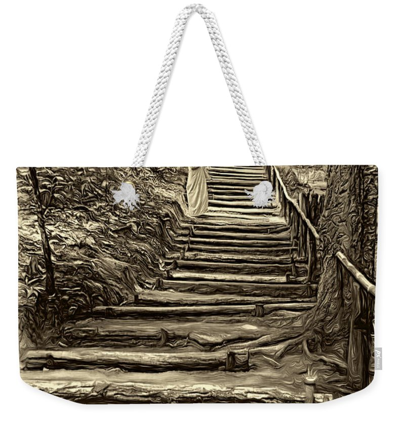 Jungle Weekender Tote Bag featuring the photograph Stairway To Heaven - Sepia by Steve Harrington