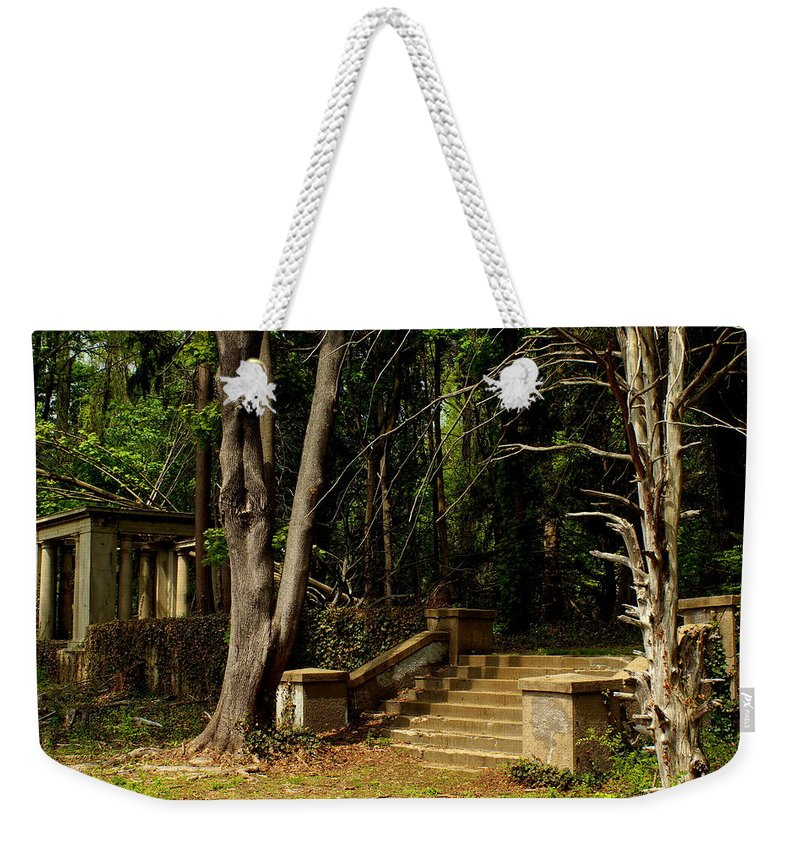 Muttontown Weekender Tote Bag featuring the photograph Stairway To Nowhere by John Wall
