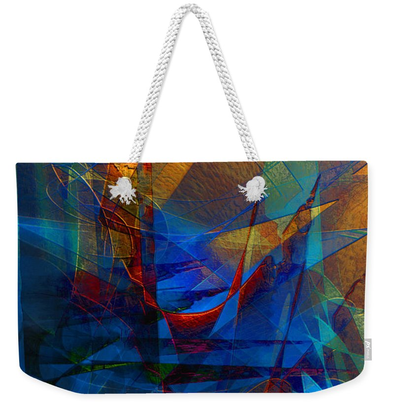 Abstract Weekender Tote Bag featuring the digital art Stairway Upon Grail Passeges by Stephen Lucas