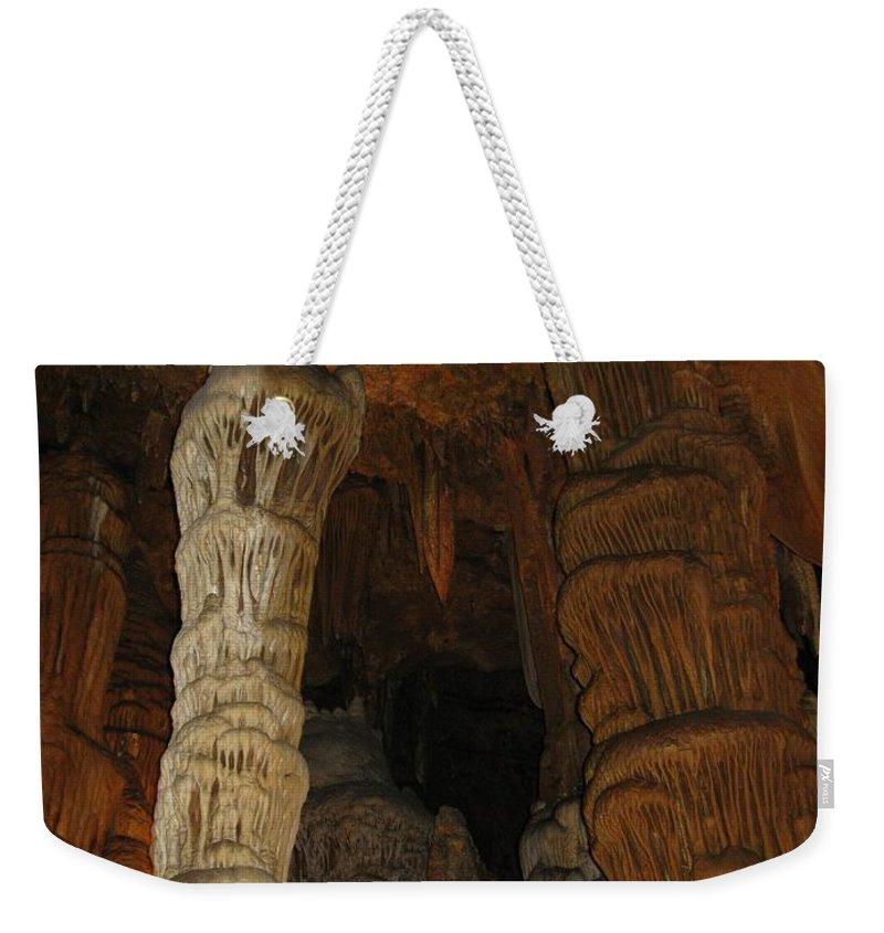 Stalacmites Weekender Tote Bag featuring the photograph Stalacmites In Luray Caverns Va by Ausra Huntington nee Paulauskaite