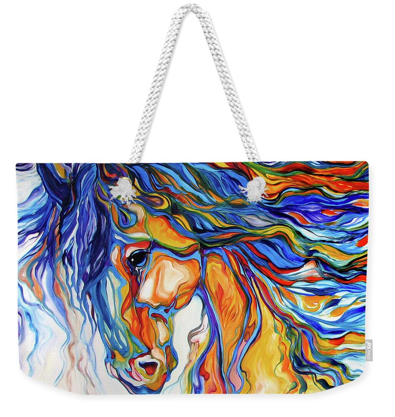 Equine Weekender Tote Bag featuring the painting STALLION SOUTHWEST by M BALDWIN by Marcia Baldwin
