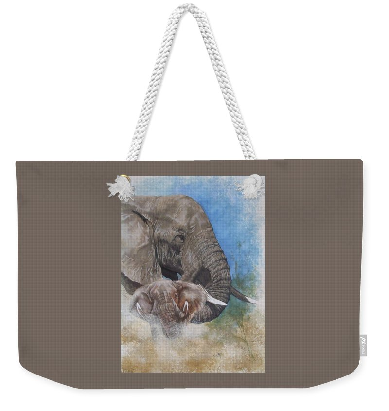 Elephant Weekender Tote Bag featuring the mixed media Stalwart by Barbara Keith