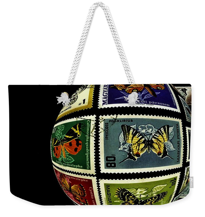 Stamp Collection Weekender Tote Bag featuring the photograph Butterfly Postage Stamp Art Print by Carol F Austin