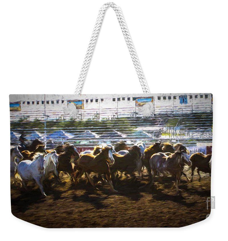 Fiesta Day's Weekender Tote Bag featuring the photograph Stampede 1 by Tommy Anderson