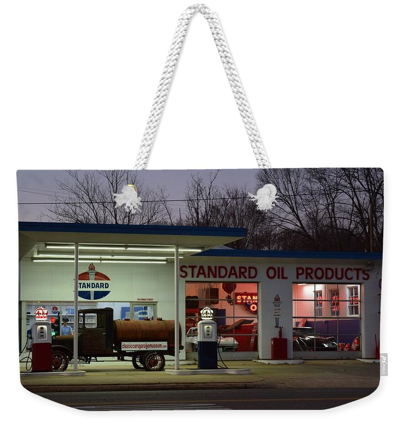 Standard Oil Museum Weekender Tote Bag featuring the photograph Standard Oil Museum After Dark 18 by Timothy Smith