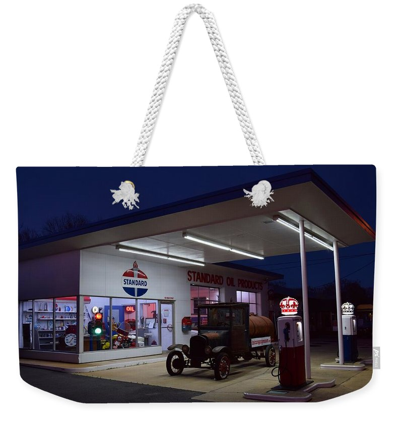 Standard Oil Museum Weekender Tote Bag featuring the photograph Standard Oil Museum After Dark 19 by Timothy Smith