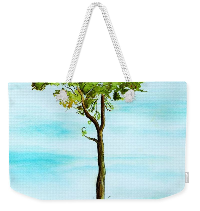 Landscape Weekender Tote Bag featuring the painting Standing Alone by Brenda Owen