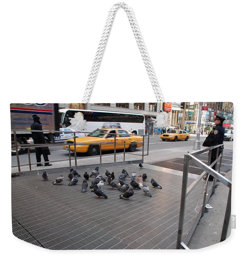 Pigeons Weekender Tote Bag featuring the photograph Standing Guard by Rob Hans