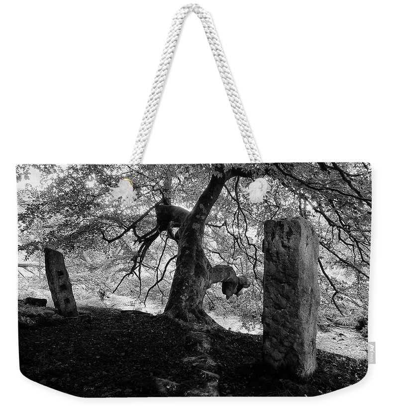 Standing Stones Weekender Tote Bag featuring the photograph Standing Stones Near The Tree by Philip Openshaw