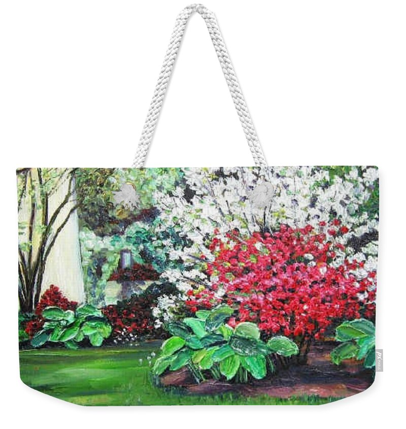 Blossoms Weekender Tote Bag featuring the painting Stanely Park Blossoms by Richard Nowak