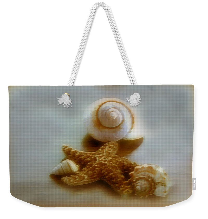 Beach Art Weekender Tote Bag featuring the photograph Star And Shells by Linda Sannuti