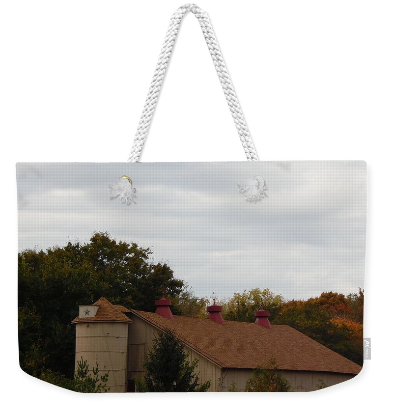 Fall Leaves Autumn Nature Leaf Landscape Water Tree Rocks Waterfall Trees Path Cliff Stairs Woods Walkway Roots Park Tree Trunk Bark Road Foliage Walkway Shadow White Barn Weekender Tote Bag featuring the photograph Star Barn by Cher Kelley