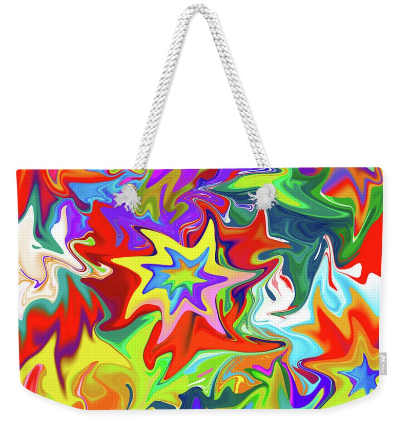 Abstract Weekender Tote Bag featuring the digital art Star by Betsy Knapp