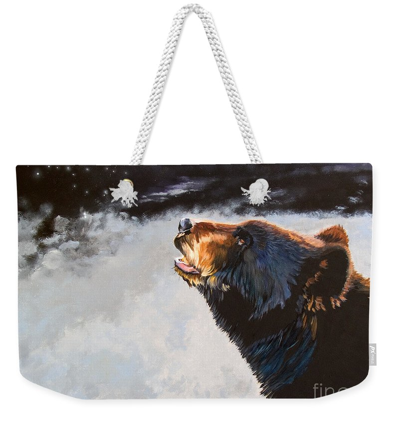 Bear Weekender Tote Bag featuring the painting Star Gazer by J W Baker