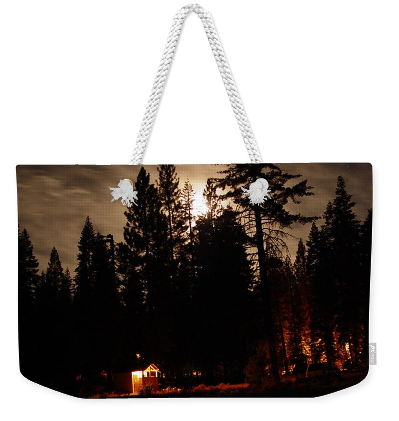 Moonlight Weekender Tote Bag featuring the photograph Star Lit Camp by Peter Piatt