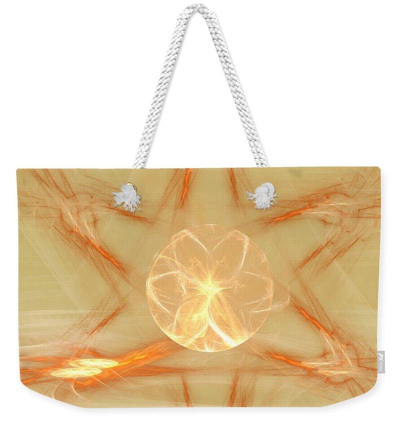 Fractal Weekender Tote Bag featuring the digital art Star Of New Beginnings by Deborah Benoit