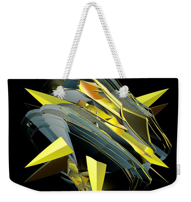 Incendia Weekender Tote Bag featuring the digital art Star Of Yellow by Deborah Benoit