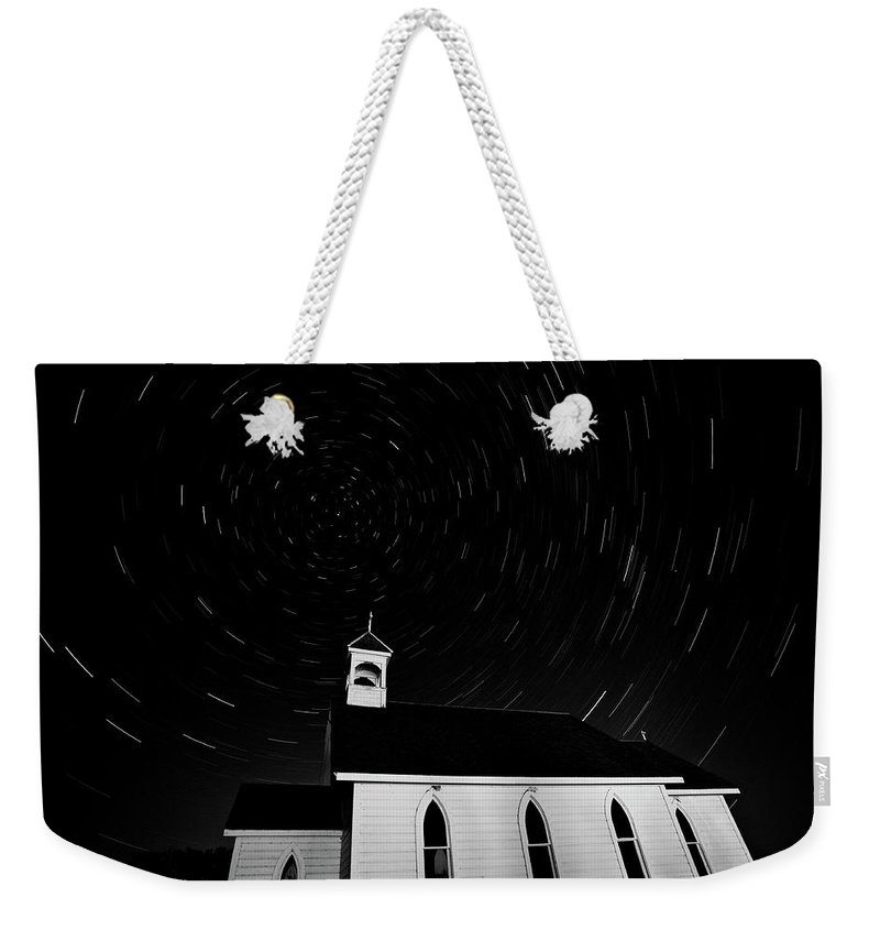 Old Weekender Tote Bag featuring the digital art Star Tracks Over Saint Columba Anglican Country Church by Mark Duffy