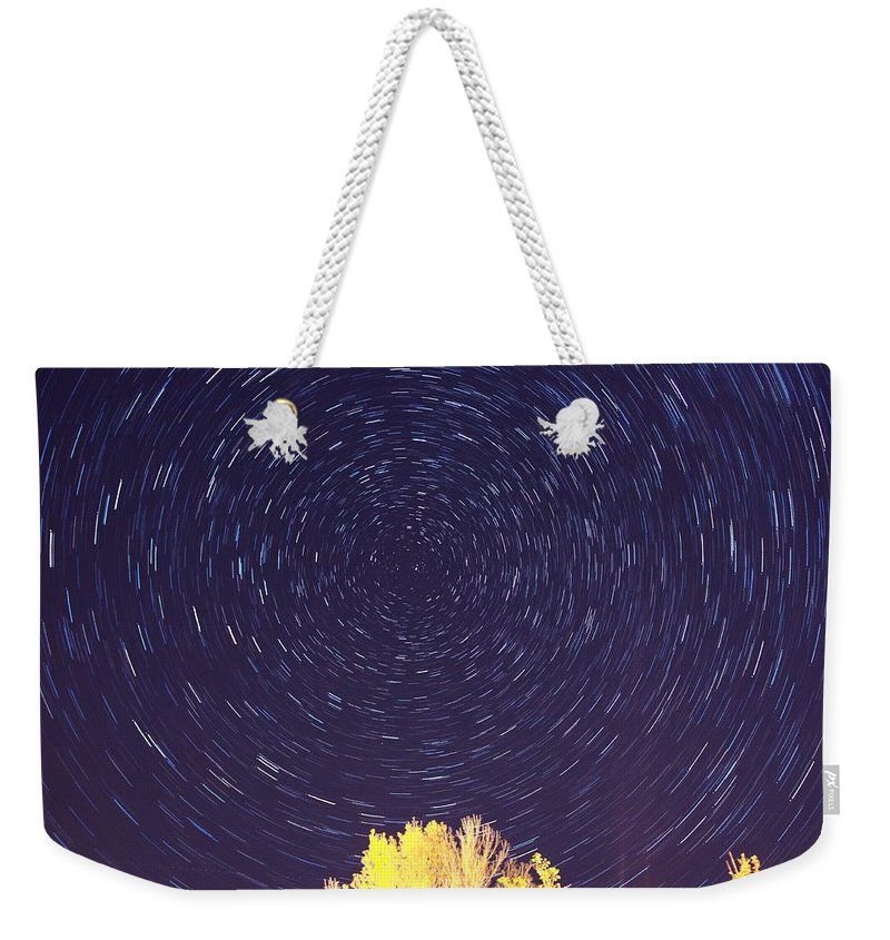 Star Weekender Tote Bag featuring the photograph Star Trails by Jessica Cooley