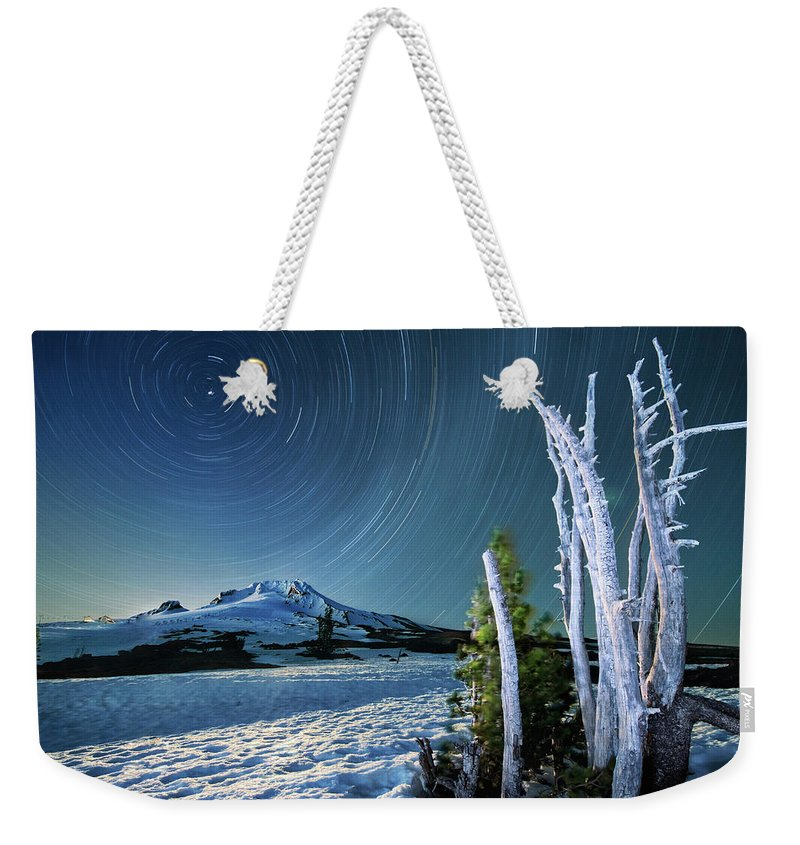 Landscape Weekender Tote Bag featuring the photograph Star Trails Over Mt. Hood by William Freebilly photography