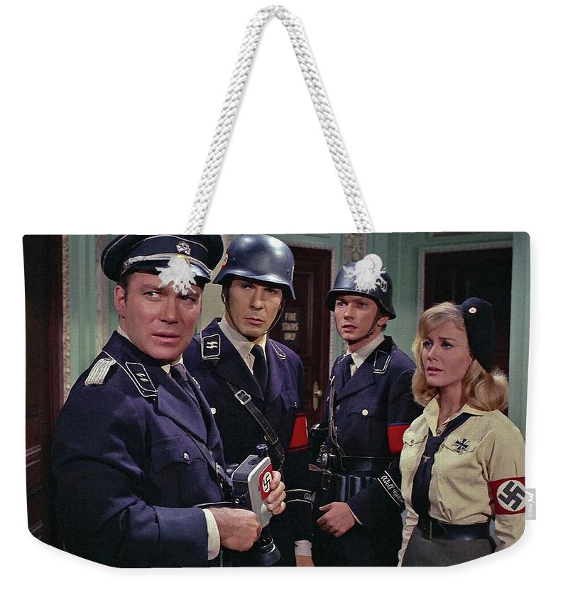 Star Trek Patterns Of Force Episode Publicity Photo Number Two 1968 Weekender Tote Bag featuring the photograph Star Trek Patterns Of Force Episode Publicity Photo Number Two 1968 by David Lee Guss