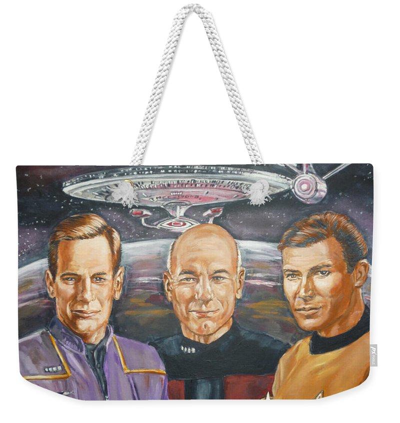 Star Trek Weekender Tote Bag featuring the painting Star Trek Tribute Enterprise Captains by Bryan Bustard