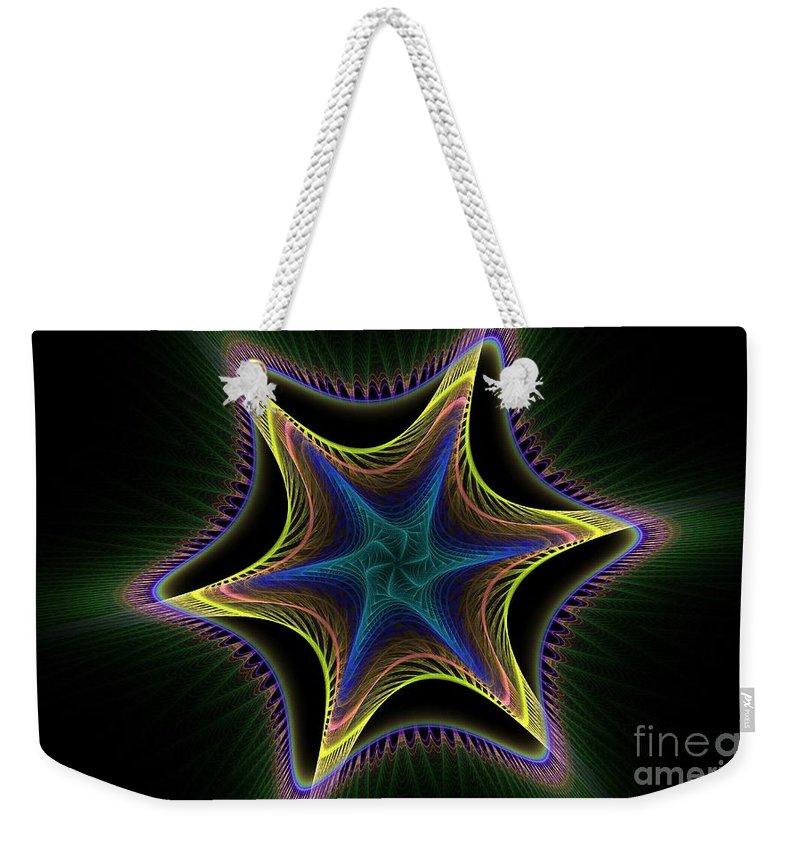 Apophysis Weekender Tote Bag featuring the digital art Star Twist Spiral by Deborah Benoit