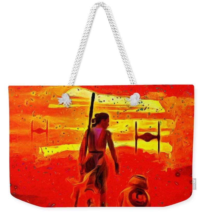 Silhouette Weekender Tote Bag featuring the painting Star Wars 8 Last Jedi - Pa by Leonardo Digenio