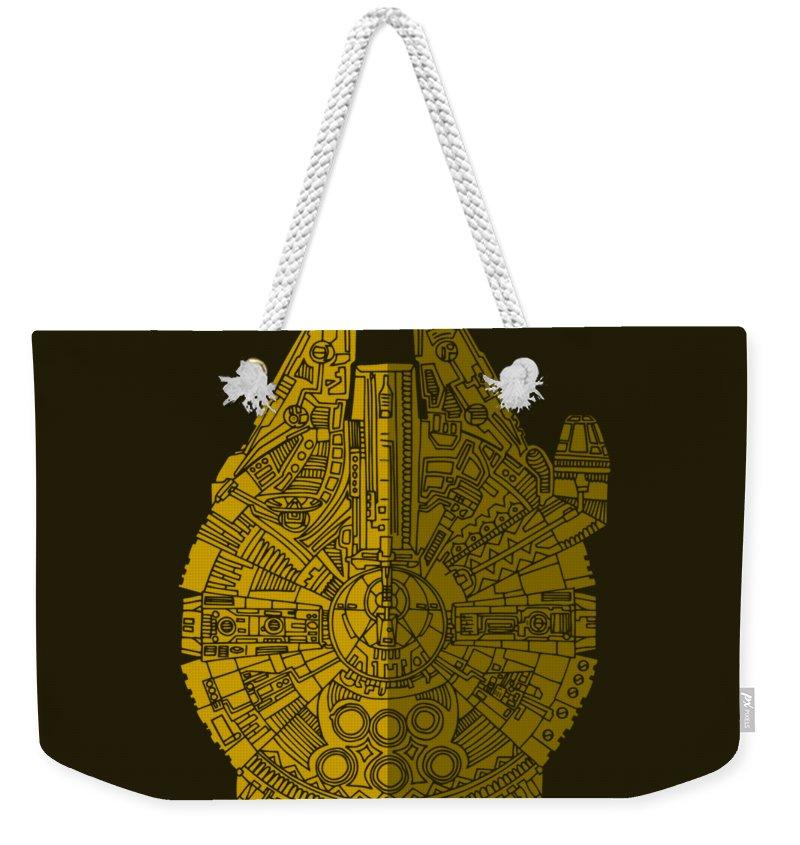 Millennium Weekender Tote Bag featuring the mixed media Star Wars Art - Millennium Falcon - Brown by Studio Grafiikka