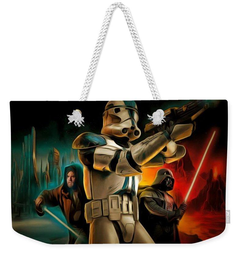 Star Wars 7 Weekender Tote Bag featuring the painting Star Wars Fighters by Leonardo Digenio