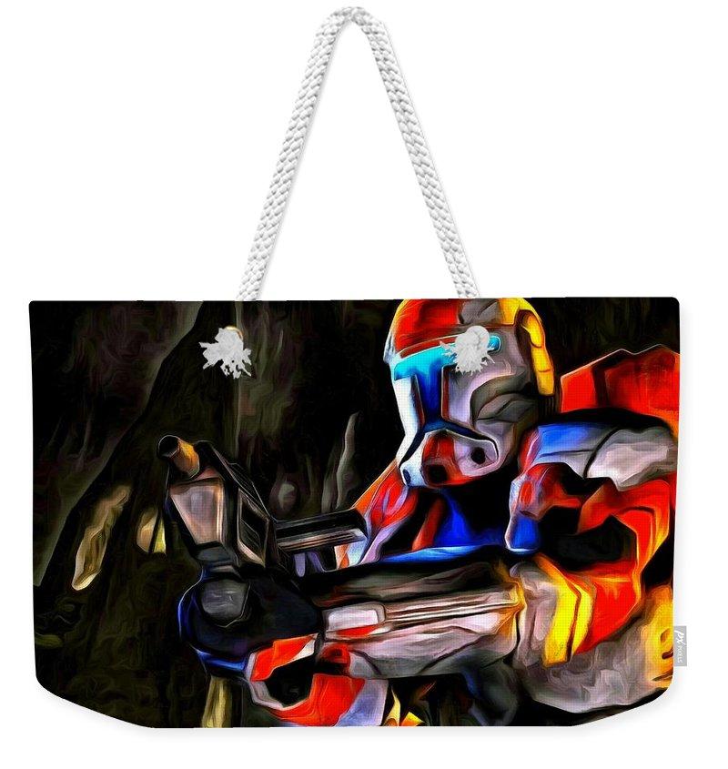 Star Wars 7 Weekender Tote Bag featuring the painting Star Wars Hunter by Leonardo Digenio