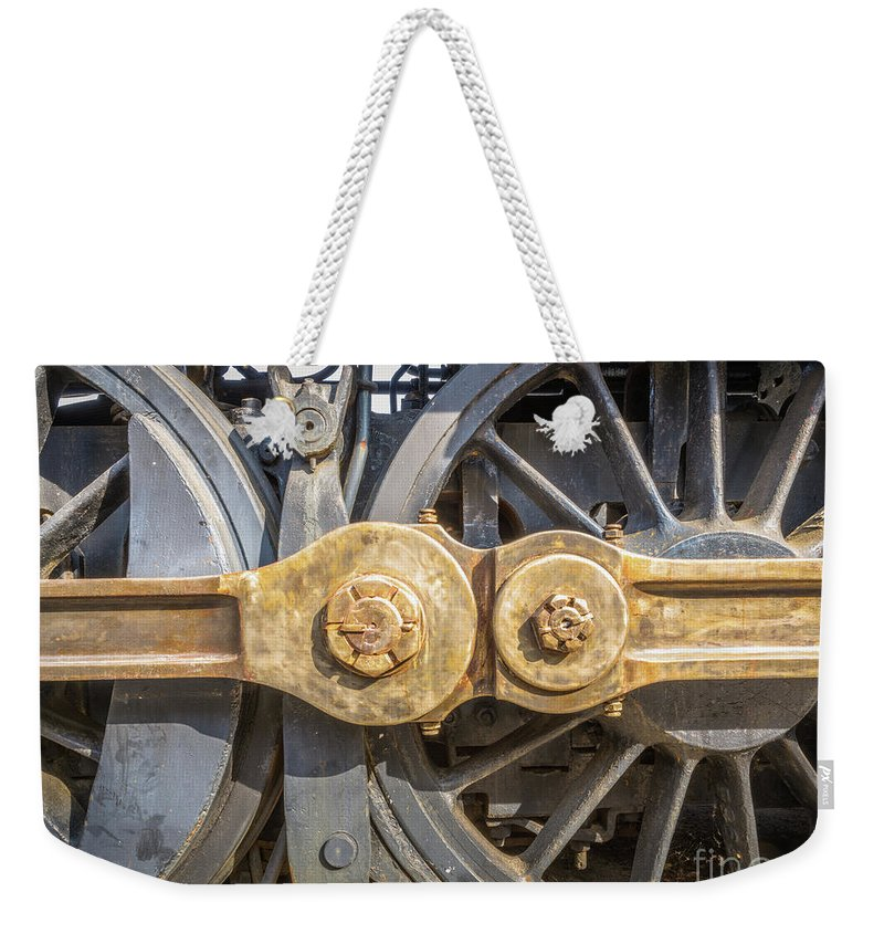 Railroad Weekender Tote Bag featuring the photograph Starboard Drive Wheels And Connecting Rods No. 9000 by Mark Roger Bailey