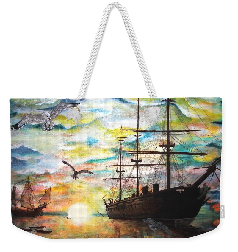 Ships Weekender Tote Bag featuring the painting Starboard Flight by Vallee Johnson