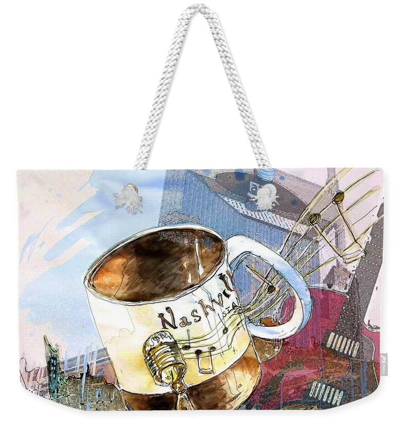 Mugs Weekender Tote Bag featuring the painting Starbucks Mug Nashville by Miki De Goodaboom
