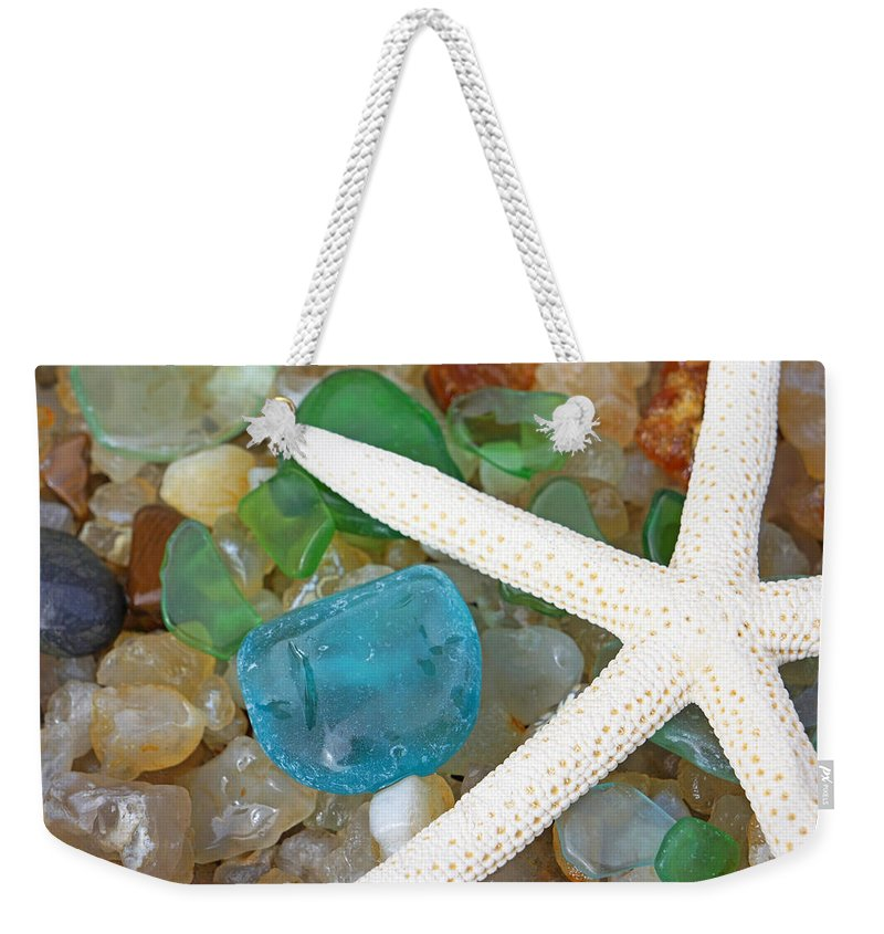 Starfish Weekender Tote Bag featuring the photograph Starfish Art Prints Blue Green Seaglass Sea Glass Agates by Patti Baslee