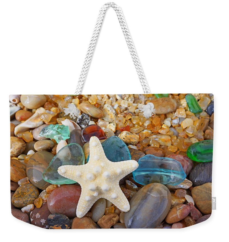 Starfish Weekender Tote Bag featuring the photograph Starfish Art Prints Star Fish Seaglass Sea Glass by Patti Baslee