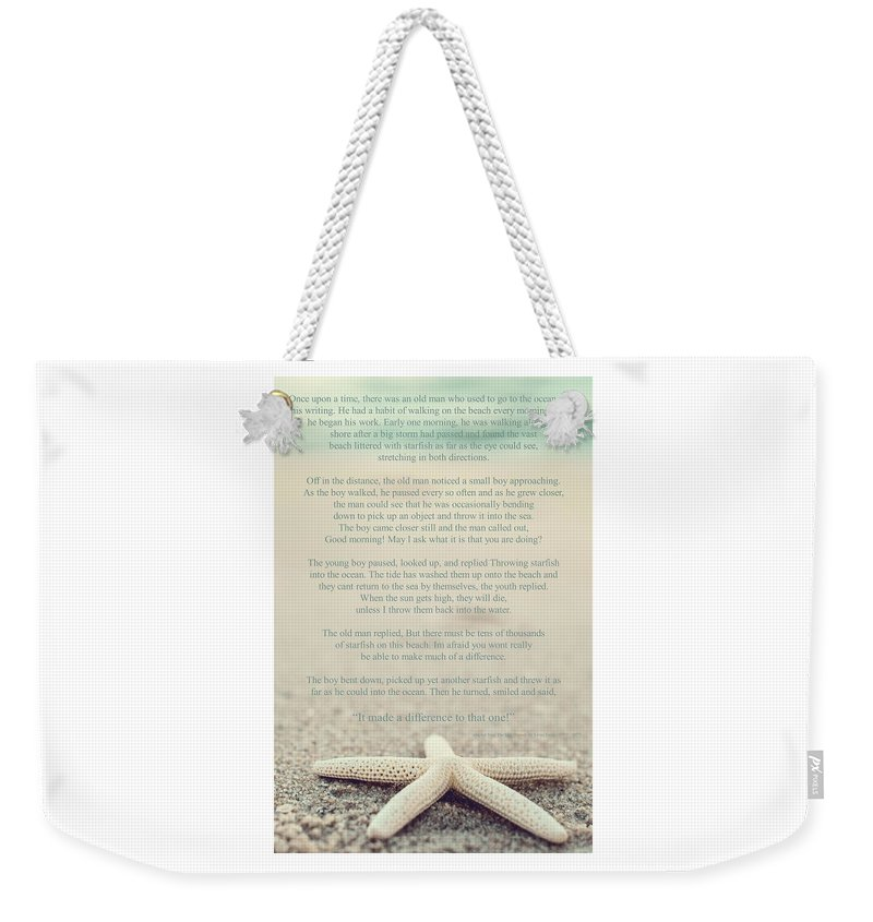 Starfish Make A Difference Vintage Set 1 Weekender Tote Bag featuring the photograph Starfish Make A Difference Vintage Set 1 by Terry DeLuco