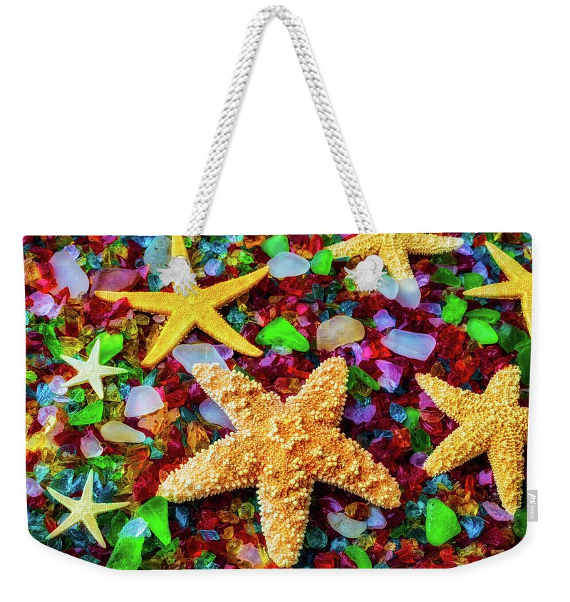 Starfish Weekender Tote Bag featuring the photograph Starfish On Sea Glass by Garry Gay