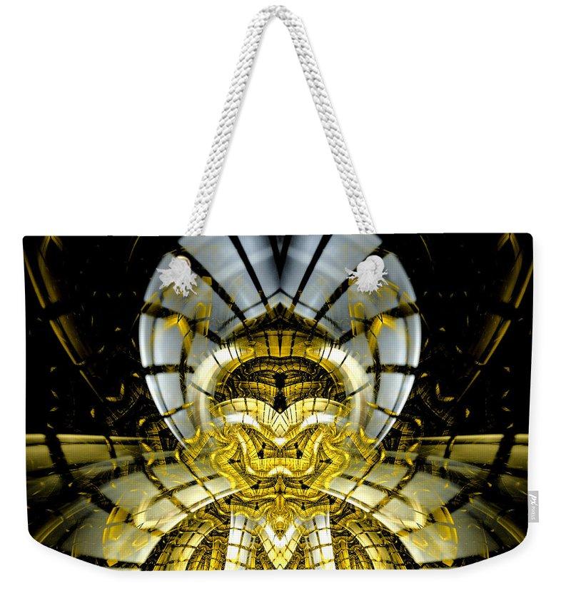 Fractal Weekender Tote Bag featuring the digital art Stargate Electra by Amorina Ashton