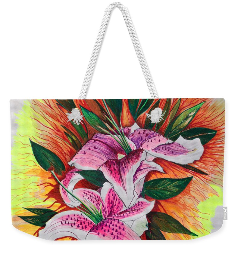Flowers Weekender Tote Bag featuring the drawing Stargazers by J R Seymour