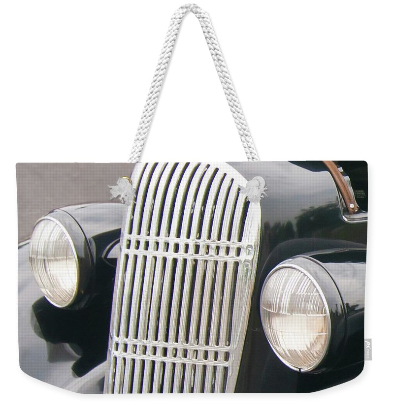 Antique Car Weekender Tote Bag featuring the photograph Staring 1998 by Guy Whiteley